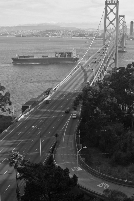 Bay Bridge and Freighter