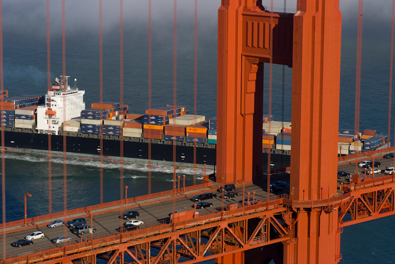 Golden Gate with Freighter